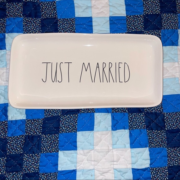 """Rae Dunn by Magenta, Artisan Collection, 14"""" x 7"""" platter, JUST MARRIED"""